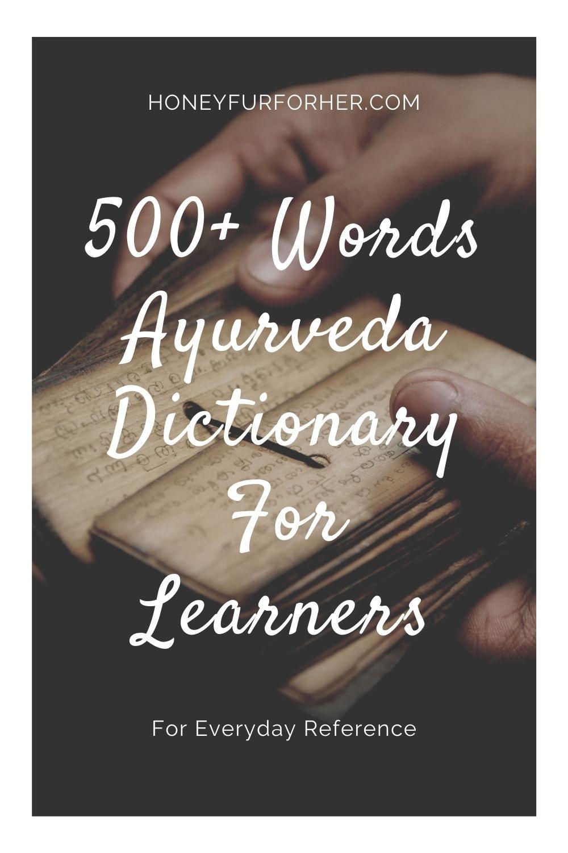 Ayurveda Glossary Dictionary Pinterest Pin 1