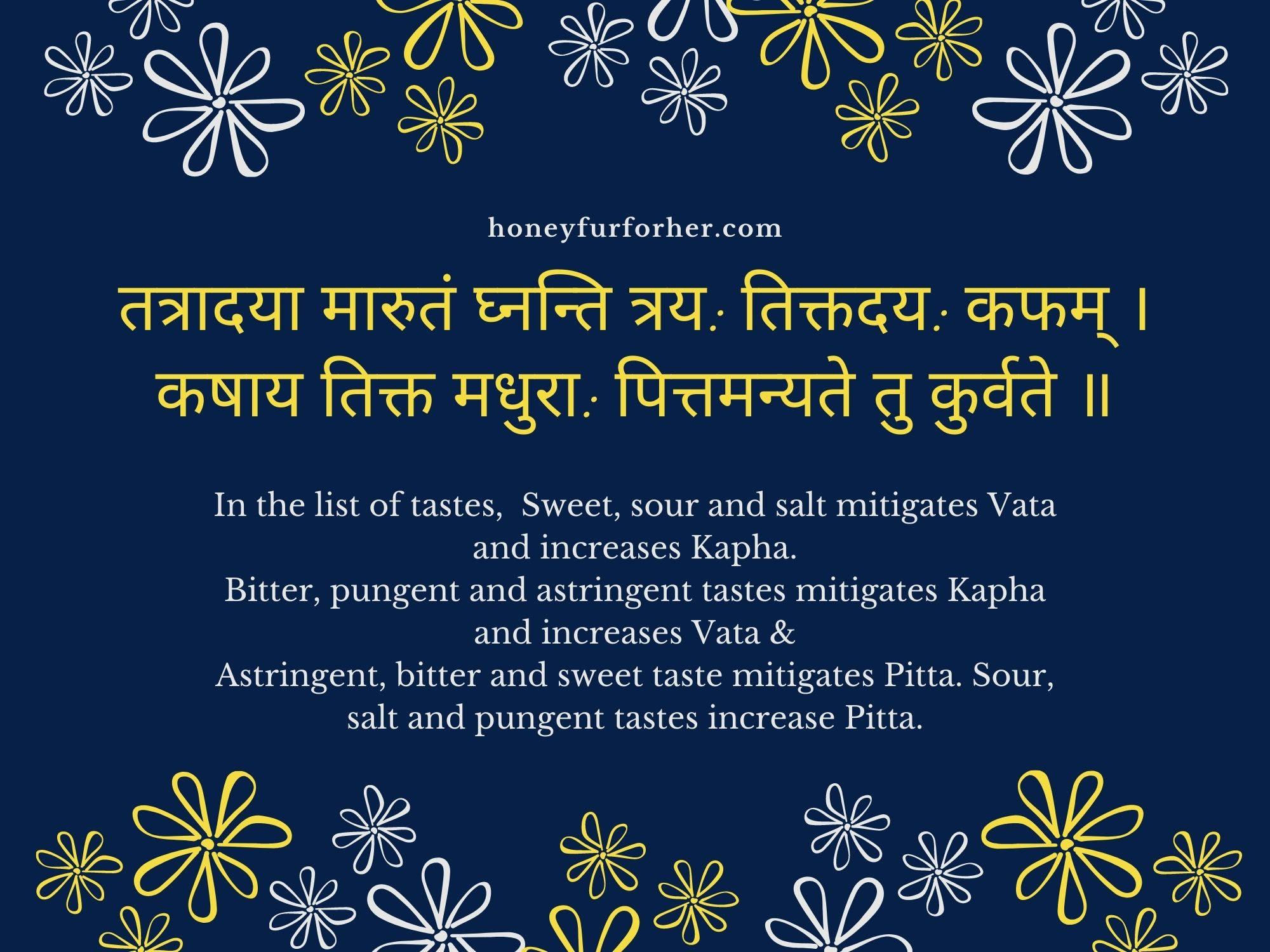 Ayurveda Quotes - Tastes For Vata Pitta Kapha